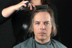 Man Getting Long Hair Combed In Preparation For Cut Royalty Free Stock Photography