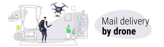 Man getting parcel gift box from quadcopter express air mail delivery by drone concept modern apartment living room. Interior sketch doodle horizontal banner vector illustration