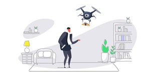 Man getting parcel gift box from quadcopter express air mail delivery by drone concept modern apartment living room. Interior sketch doodle horizontal vector vector illustration