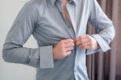 Man Getting Ready. Tied a Tie Stock Photo