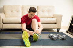 Man getting ready to exercise at home Stock Photography