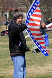 Man getting ready to fly his kite over the city,National Mall,Washington,DC,2015 Royalty Free Stock Images