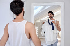 Man getting ready for work Royalty Free Stock Images