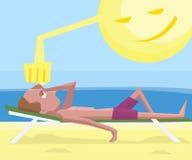 Man getting sunstroke at beach Stock Image