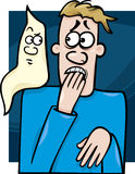 Man and ghost cartoon illustration Stock Photo