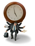Man with giant clock on shoulders time deadline pressure Stock Photography