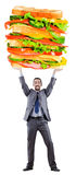 Man and giant sandwich Royalty Free Stock Photos
