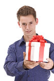 Man with gift Stock Photo