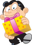 Man with a gift. The illustration shows a cartoon man, he holds is in the hands of the holiday gift in a box Stock Images