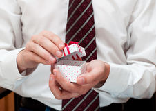 Man with gift box royalty free stock image