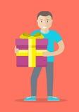Man With Gift Box Flat Design Vector Illustration Stock Photo