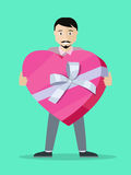 Man With Gift Box Flat Design Vector Illustration Stock Photography