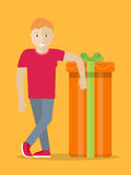 Man with Gift Box. Giving Present Concept. Vector Stock Images