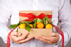 Man with gift box Royalty Free Stock Images