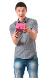 Man with gift Stock Images