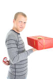 Man with gift and wedding ring Royalty Free Stock Photos
