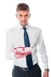 Man with a gift Royalty Free Stock Images