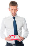 Man with a gift Stock Image