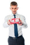 Man with a gift Royalty Free Stock Photos