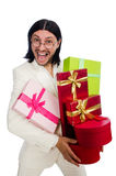 Man with giftbox Stock Images