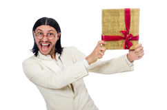Man with giftbox Royalty Free Stock Images