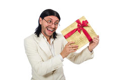Man with giftbox isolated on white Royalty Free Stock Images