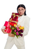 Man with giftbox isolated on white Royalty Free Stock Image