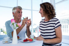 Man gifting ring to woman Royalty Free Stock Images