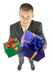 Man with gifts. Isolated man with gifts (focus on gift Stock Photo
