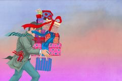 Man with gifts Stock Photography