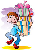 The man with gifts Stock Images