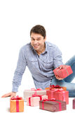 Man and gifts on white. Royalty Free Stock Images