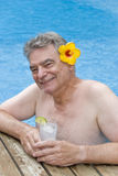 Man with Gin and Tonic in the Pool Stock Photos