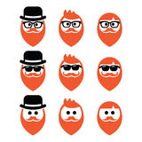 Man with ginger beard with moustache or mustache, hipster icons set Royalty Free Stock Photography