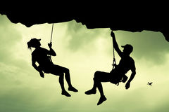Man and girl climbers Royalty Free Stock Photography