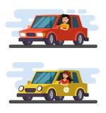 Man and girl driving car. Vector flat design cartoon Stock Photo