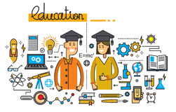 Man girl and education. Vector illustration of man girl and education Stock Photos