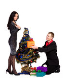 Man and the girl exchange gifts Stock Photo