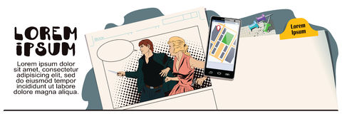 Man and girl offenders. Advertising your products. Stock illustration. People in retro style. Presentation template. Man and girl offenders. Advertising your Stock Image