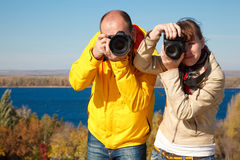 Man and girl photographed in nature. Stock Photo