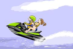 A man and a girl riding a water scooter Stock Images