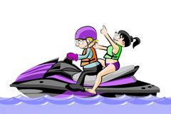 A man and a girl riding a water scooter - isolated on white Stock Photo