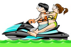 A man and a girl riding a jetsky - isolated on white Royalty Free Stock Photos