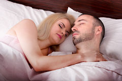 Man and girl sleeping and hugging Royalty Free Stock Images