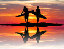 Man and girl with surf. Illustration of man and girl with surf Stock Photo