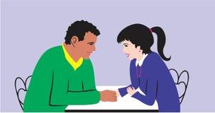 Man and girl talking Royalty Free Stock Photos
