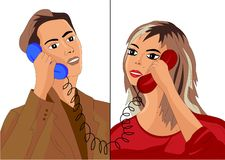 A man and a girl talking on the phone stock illustration