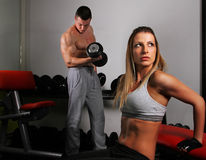 Man and girl training Royalty Free Stock Photography