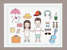 Man and girl  vector cartoon Stock Image