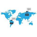 Man and girls typing from another country. Vector illustration in flat style Stock Images